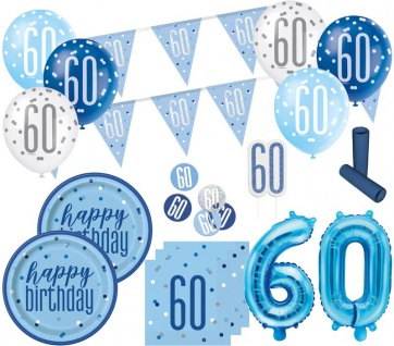 XL 36 Teile 60. Geburtstag Blue Dots Party Deko Set 8 Personen