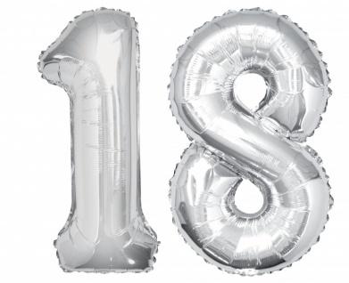 Folien Ballon Zahl 18 in Silber - XXL Riesenzahl 86 cm zum 18. Geburtstag in Silber