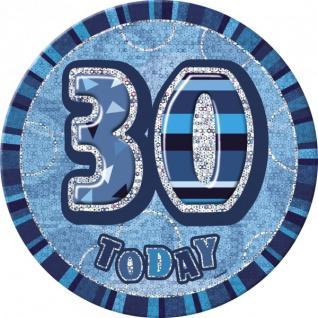 XXL Glitzer Button 30. Geburtstag Blau