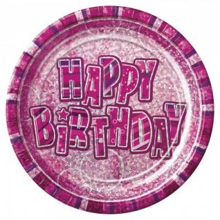 32 Teile zum 18. Geburtstag Glitzer Party Set in Pink für 8 Personen - mit Glitzer Effekt! - Vorschau 2