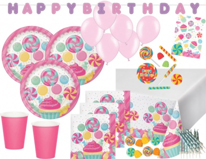 XXL 74 Teile Party Deko Set Rosa Lollie Candybar für 8 Personen