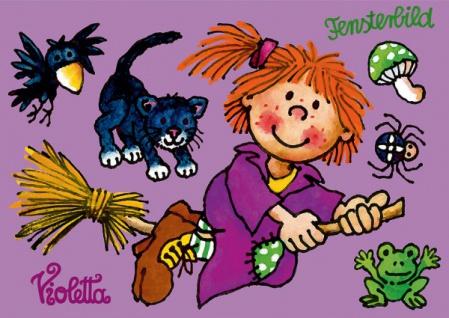 Fensterbild Postkarte Hexe Violetta