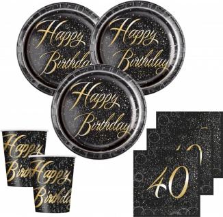 32 Teile edles Party Deko Set zum 40. Geburtstag in Schwarz Gold foliert für 8 Personen - Vorschau 1