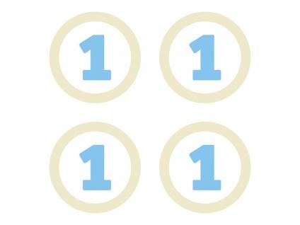 4 Papier Aufkleber für Kronen zum 1. Geburtstag Hellblau