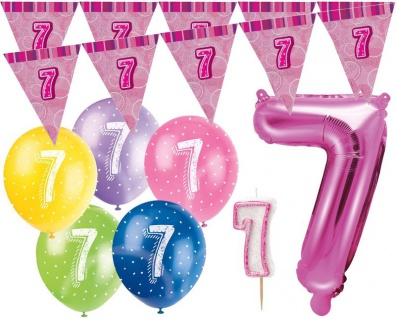 7. Geburtstag Pink Folienballon + Girlande + Luftballons + Kerze Deko Set - Sieben