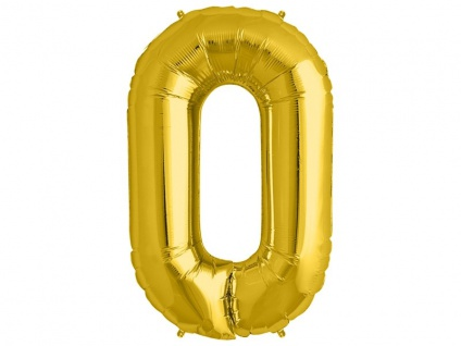 XXL Folien Ballon in Form der Zahl 0 Gold 86 cm