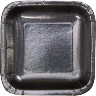 8 quadratische Papp Teller Schwarz Glitzer