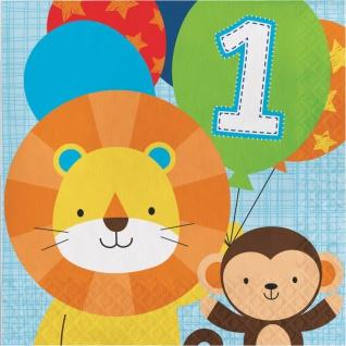 16 Servietten 1. Geburtstag im Zoo Blau