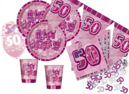 56 Teile zum 50. Geburtstag Party Set in Pink für 16 Personen