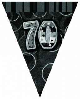 70. Geburtstag Wimpel Girlande Schwarz