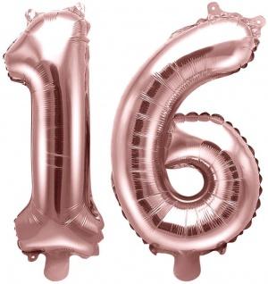 Folienballons Zahl 16 Rosegold Metallic 35 cm