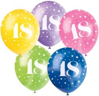 25 bunte Luftballons zum 18. Geburtstag
