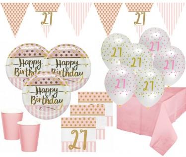 XL 44 Teile Pink Chic Party Deko Set zum 21. Geburtstag in Rosa und Gold Glanz für 8 Personen