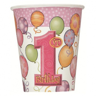 8 Papp Becher Erster Geburtstag rosa Ballons