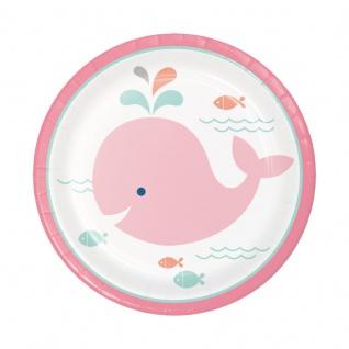 8 kleine Papp Teller Happy Baby Wal Party Pink
