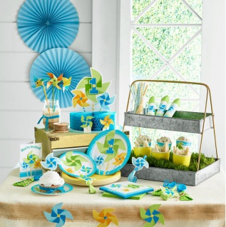 8 Party Tüten 1. Geburtstag Windrad Blau - Vorschau 3