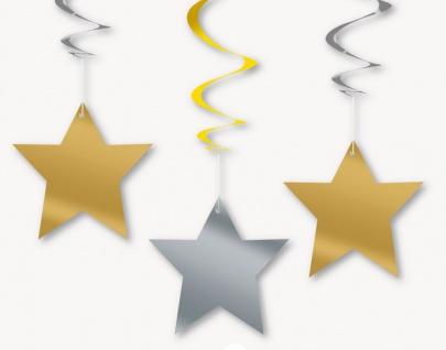 3 hängende Sterne Girlanden Gold und Silber