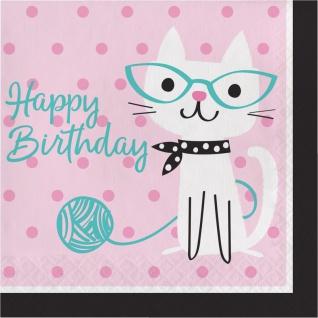 16 Geburtstags Servietten Purrfect Katzen Party
