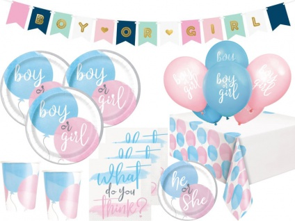XL 48 Teile Gender Reveal Babyparty Deko Set Junge oder Mädchen? 8 Personen