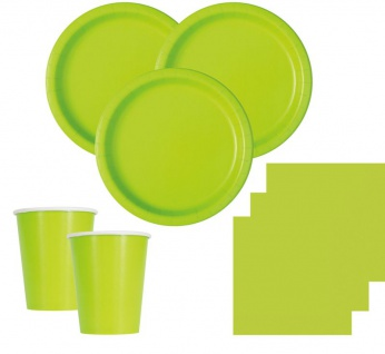 20 kleine Papp Teller Neon Grün - Vorschau 2