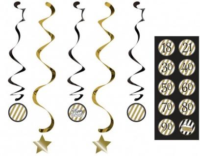 34 Teile Dekorations Set zum 90. Geburtstag oder Jubiläum - Party Deko in Schwarz & Gold - Vorschau 5