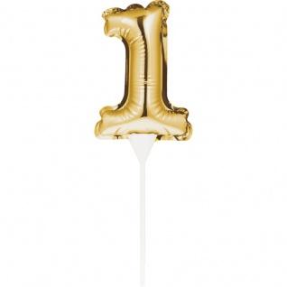 Kuchen oder Deko Stecker Zahl 1 Gold selbstaufblasend