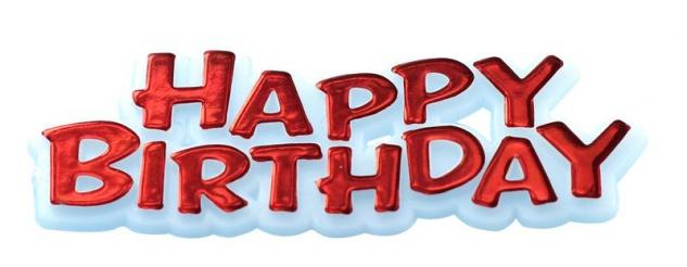 Happy Birthday Pick in Rot