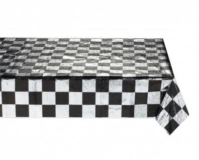 Schwarz Weiß Formel 1 Metallic Tischdecke