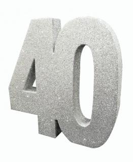Deko Glitzer Zahl 40. Geburtstag Silber