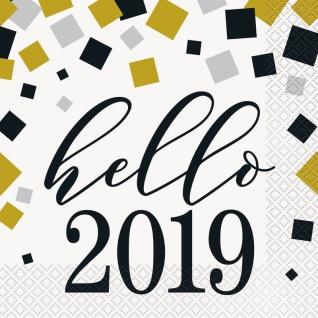 XL 46 Teile Hello Baby Babyshower 2019 Party Deko Set Gold foliert für 8 Personen - Vorschau 5