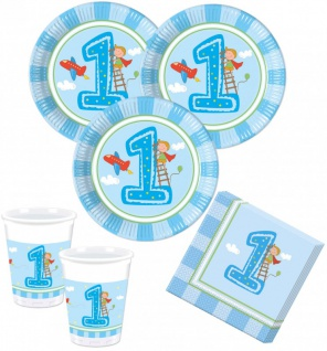 52 Teile Erster Geburtstag Junge Hellblau Party Deko Set 16 Personen