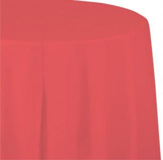 Runde Plastik Tischdecke in Korallen Rot