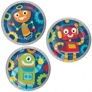 8 kleine Papp Teller Roboter Party