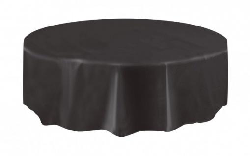 Runde Plastik Tischdecke schwarz - Vorschau 1