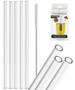 5 Glas Trinkhalme - klar/durchsichtig - 20 cm lang - Set mit Reinigungsbürste