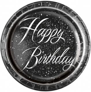 32 Teile edles Party Deko Set Happy Birthday zum Geburtstag in Schwarz Silber foliert für 8 Personen - Vorschau 2
