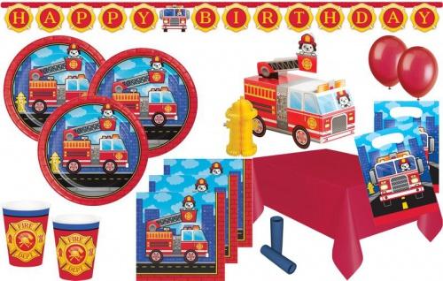 XL 54 Teile Feuerwehr Alarm Party Deko Set für 8 Kinder