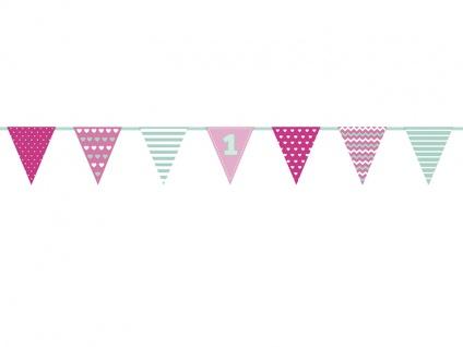 Erster Geburtstag Papier Wimpel Girlande pink mint