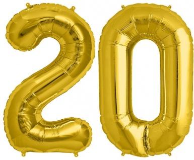 Folien Ballon Zahl 20 in Gold - XXL Riesenzahl 86 cm zum 20. Geburtstag in Gold