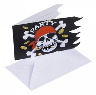 6 Jolly Roger Einladungen - Vorschau 1