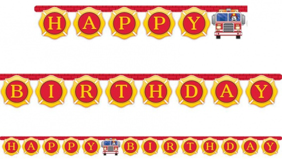 Geburtstags Girlande am Zwirn Feuerwehr Alarm
