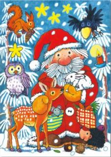 Fensterbild Weihnachtsmann im Wald