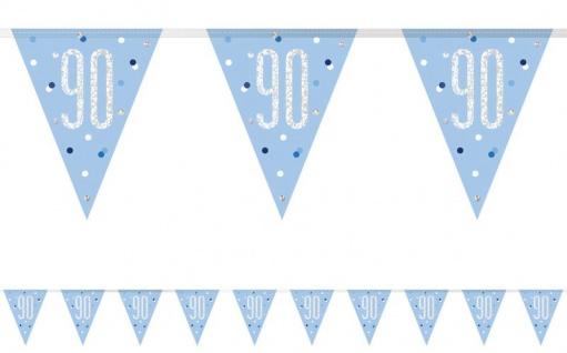 Wimpel Girlande Blue Dots Glitzer zum 90. Geburtstag