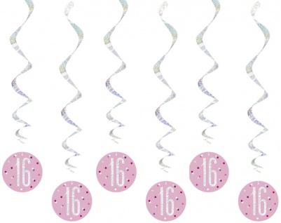 6 hängende Swirl Girlanden Pink Dots Glitzer zum 16. Geburtstag