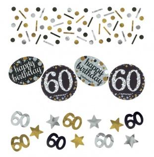 Deko Konfetti 60. Geburtstag in Silber und Gold Glitzer