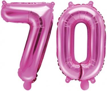 Folienballons Zahl 70 Pink Metallic 35 cm