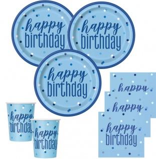 48 Teile Happy Birthday Blue Dots Geburtstag Party Set 16 Personen