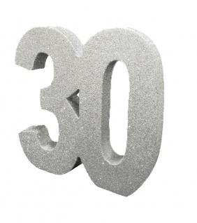Deko Glitzer Zahl 30. Geburtstag Silber