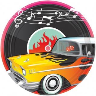 8 große Teller 50er Jahre Rock'n Roll Motto Party