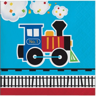 16 kleine Servietten Eisenbahn Party